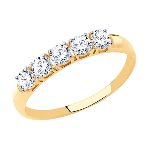 Фото «Золотое кольцо с фианитами SOKOLOV 81010281*»