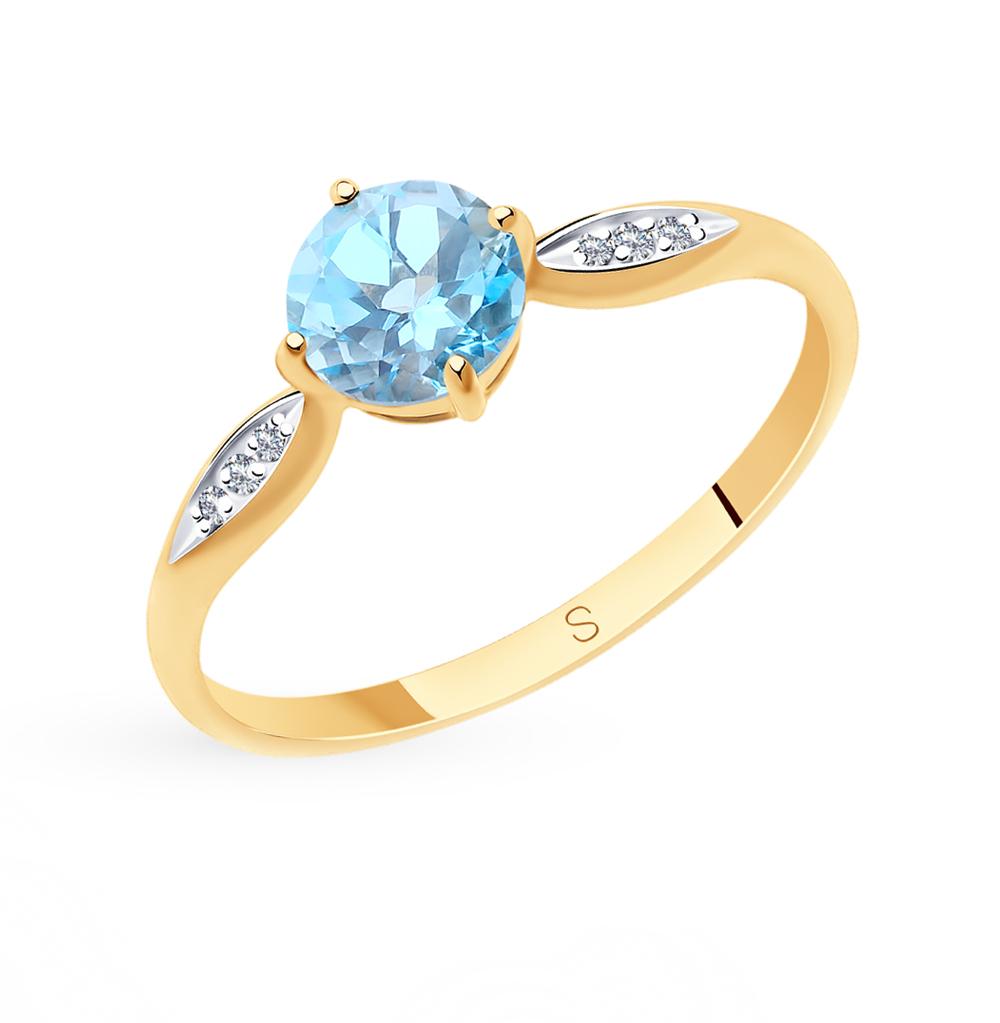 золотое кольцо с топазами и фианитами SOKOLOV 715743*