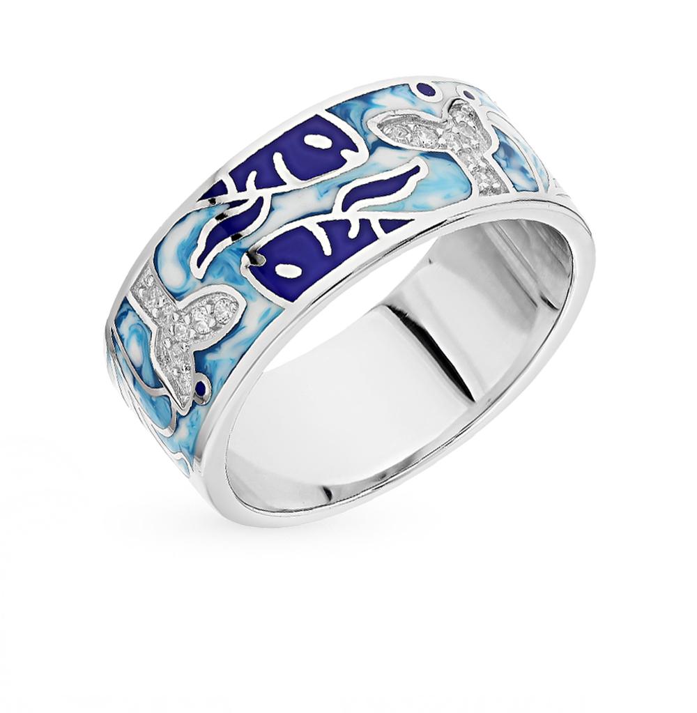 Серебряное кольцо с фианитами и эмалью в Санкт-Петербурге
