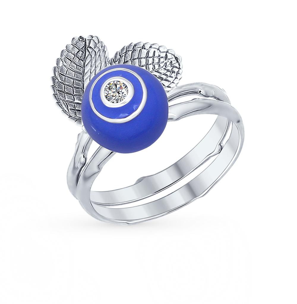 Серебряное кольцо с фианитами и эмалью SOKOLOV 94012205 в Санкт-Петербурге