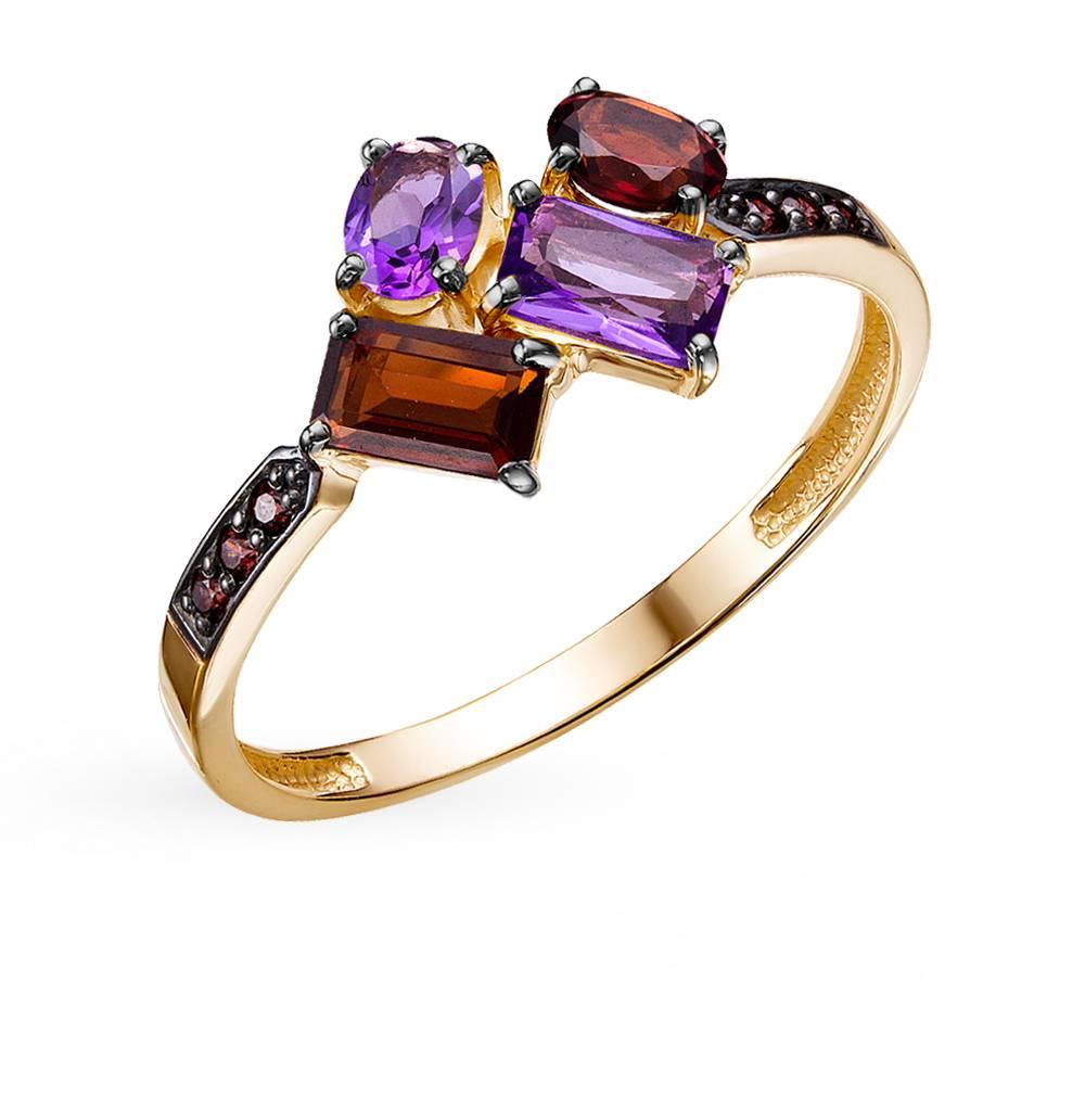 золотое кольцо с аметистом и гранатом