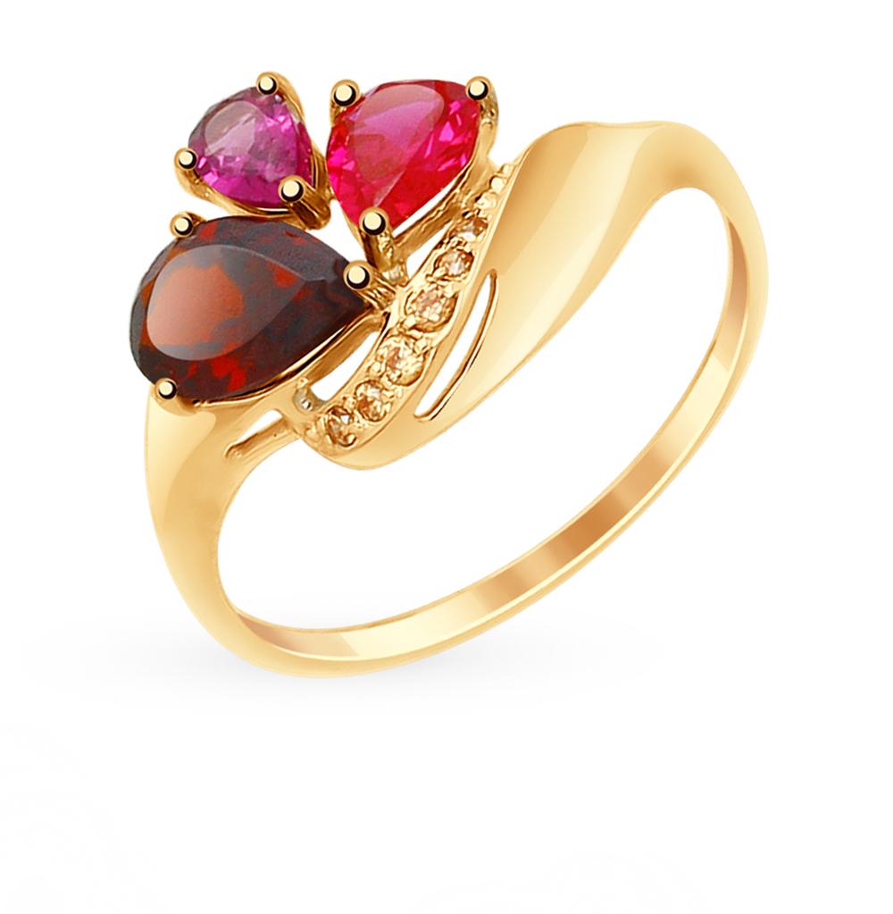 Фото «Золотое кольцо с родолитами, корундом, фианитами и гранатом SOKOLOV 714870*»