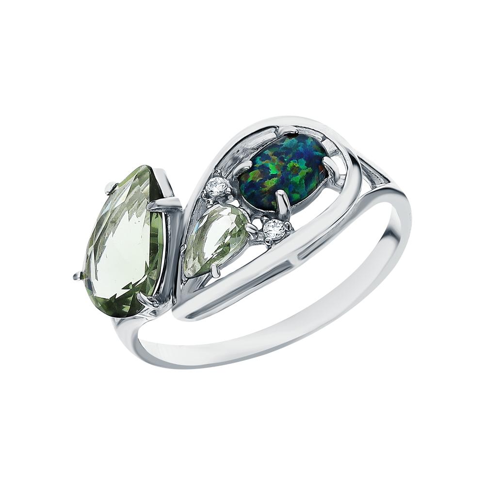 Серебряное кольцо с фианитами, опалами имитациями и турмалинами имитациями в Екатеринбурге