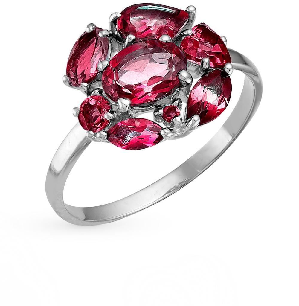 Фото «серебряное кольцо с аметистом, топазами, фианитами и родолитами»