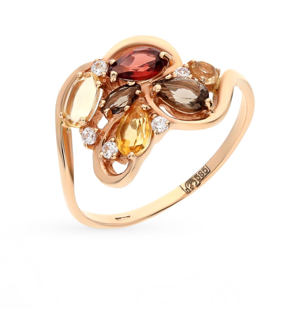 Фото «золото кольцо с гранатом, цитринами, фианитами и раухтопазами (кварцами дымчатый)»