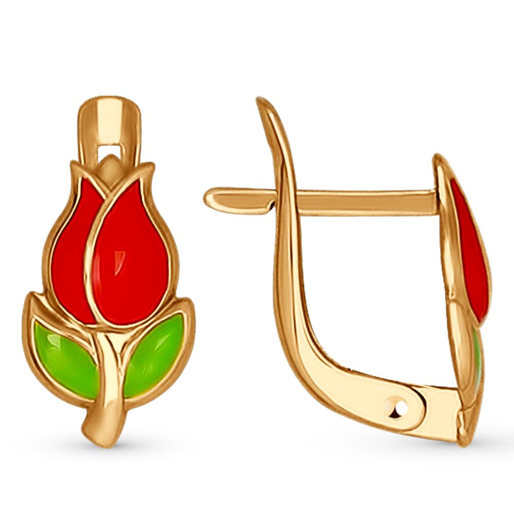 Золотые серьги с эмалью SOKOLOV 027409* в Екатеринбурге