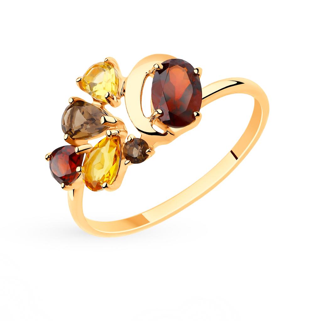 золотое кольцо с раухтопазами, гранатом и цитринами SOKOLOV 715510*