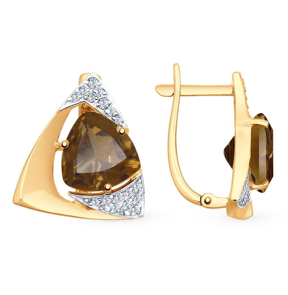 золотые серьги с раухтопазами и фианитами SOKOLOV 725174