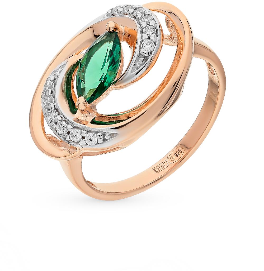 Фото «Серебряное кольцо с фианитами и гидротермальным изумрудом SOKOLOV 82010006»