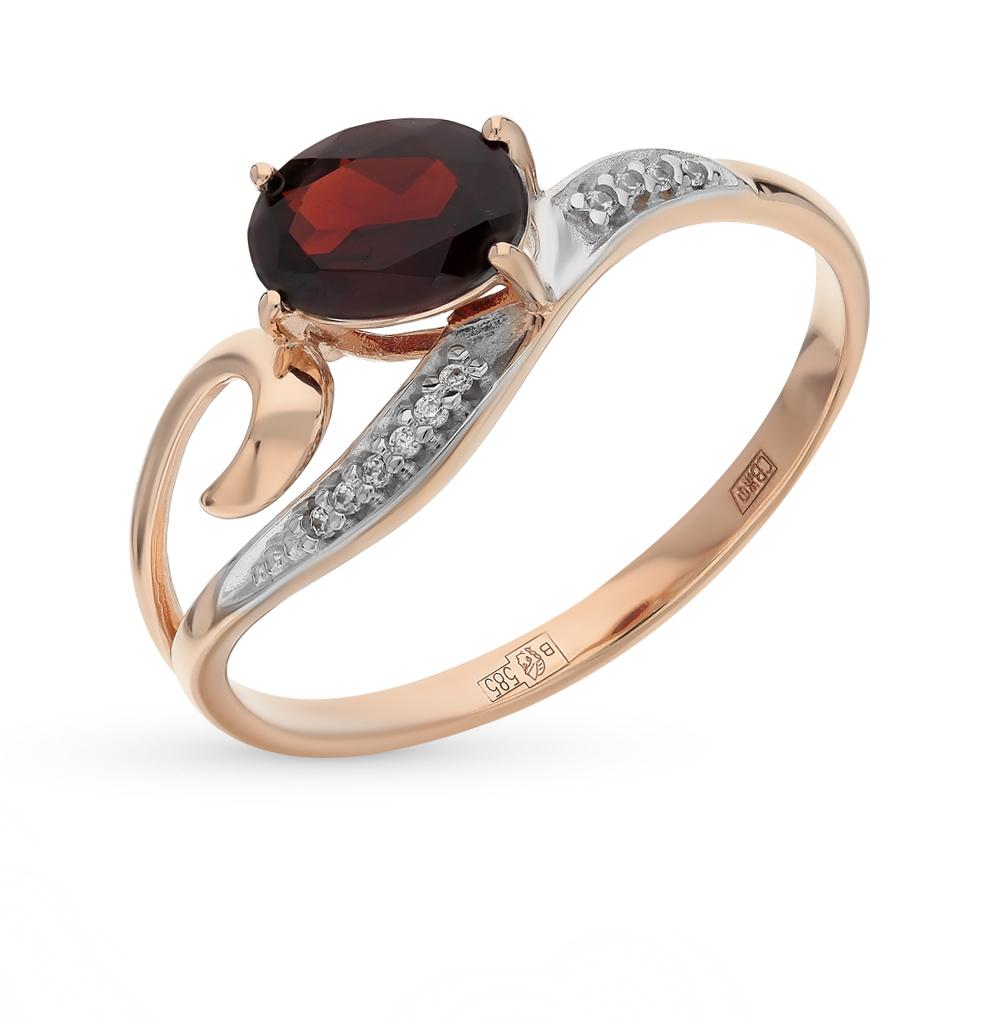 Фото «Золотое кольцо с фианитами и гранатом SOKOLOV 713843*»