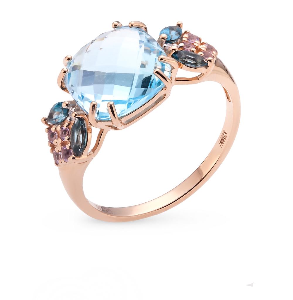 Фото «золотое кольцо с аметистом, топазами и фианитами»