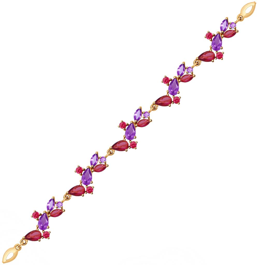 золотой браслет с аметистом SOKOLOV 750261*