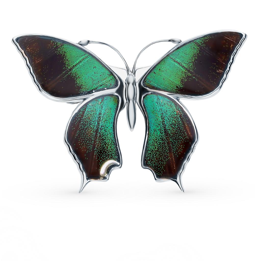 Фото «Серебряная брошь с эмалью и крыльями бабочки, 5 см»