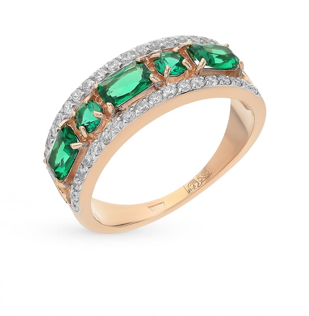 золотое кольцо с фианитами и изумрудами