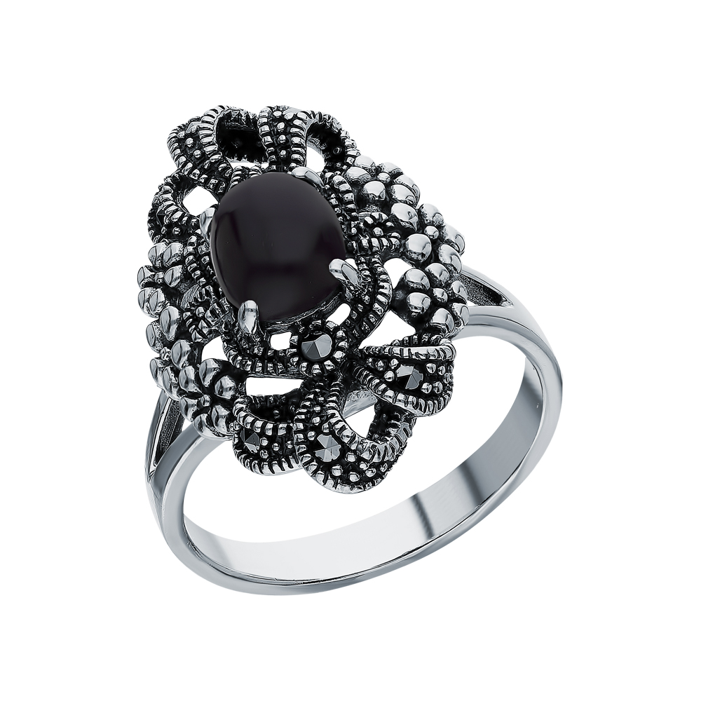 Серебряное кольцо с ониксом и марказитами swarovski в Санкт-Петербурге