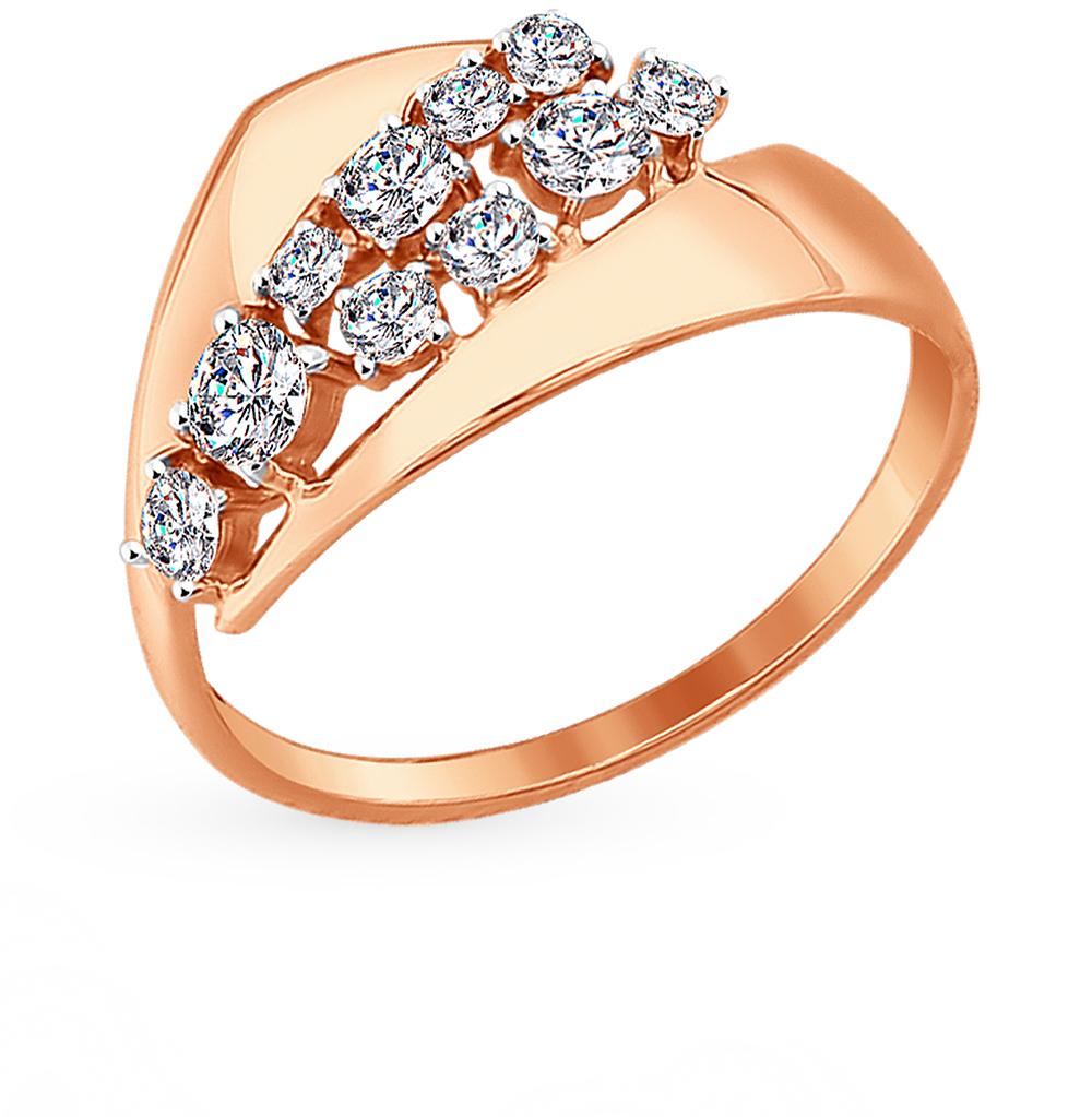золотое кольцо с фианитами SOKOLOV 017398*