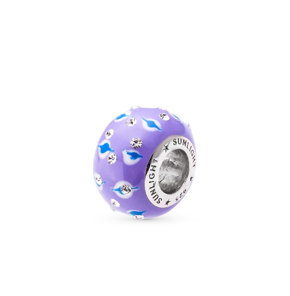 Фото «серебряная подвеска - шарм с эмалью и кристаллами swarovski»