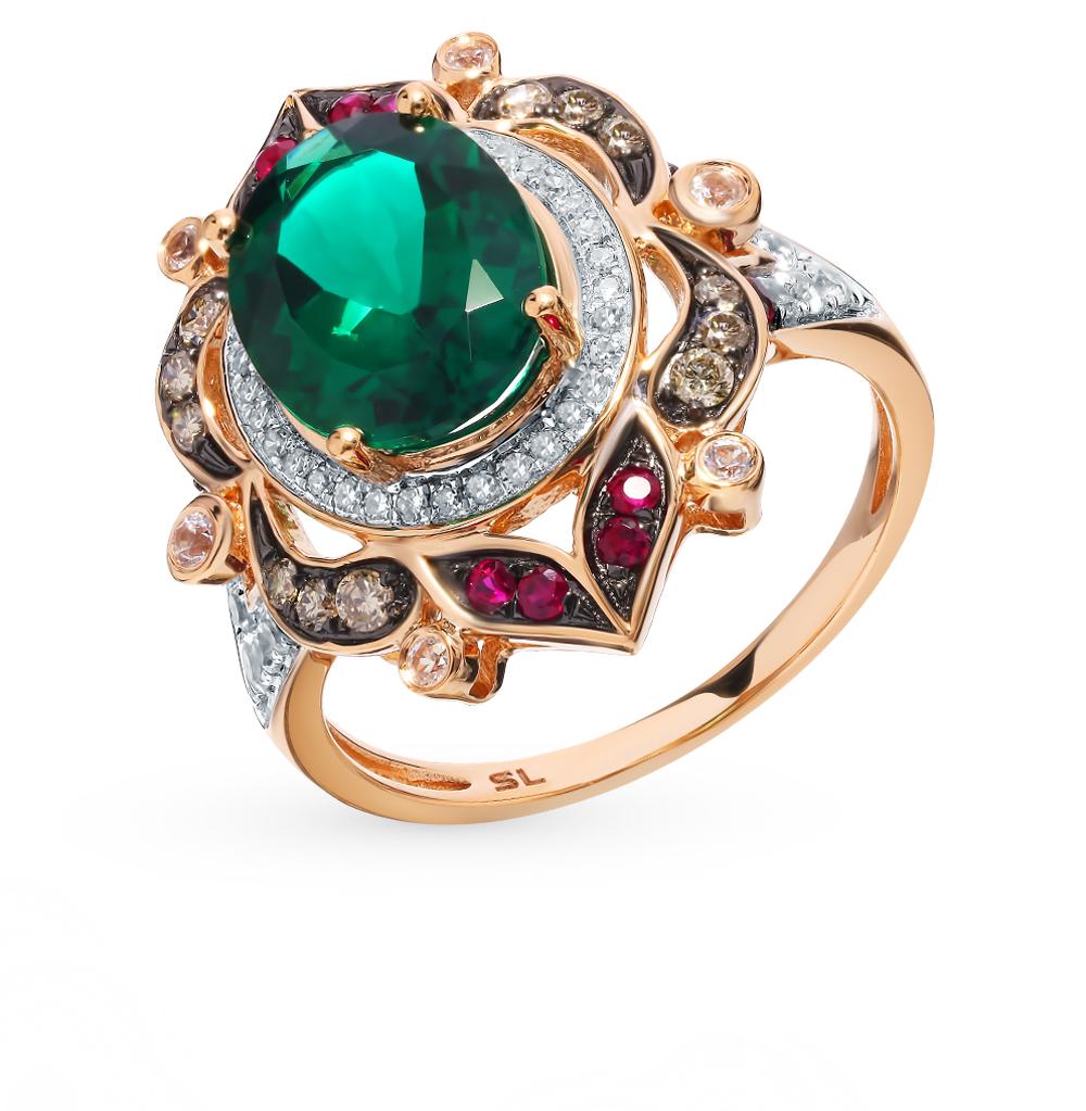 Золотое кольцо с коньячными бриллиантами, рубинами, сапфирами и изумрудом