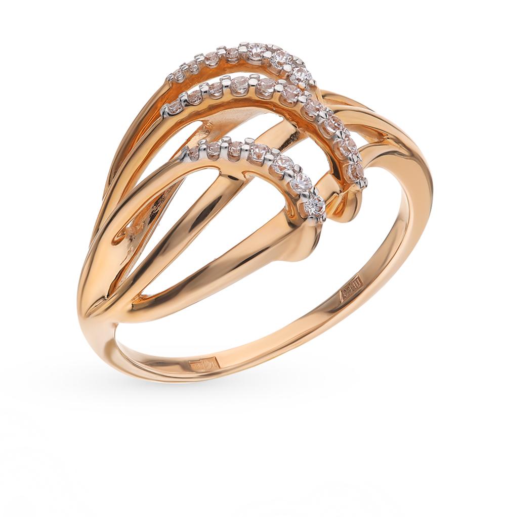 золотое кольцо с фианитами SOKOLOV 015984*