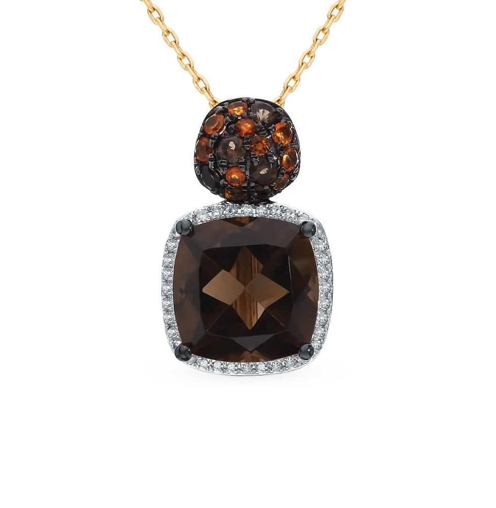 золотая подвеска с раухтопазами, цитринами и бриллиантами
