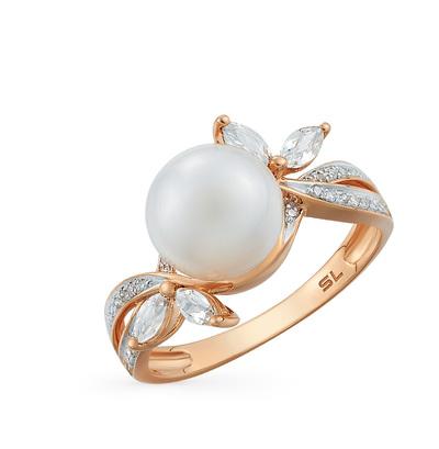 золотое кольцо с топазами, жемчугом и бриллиантами