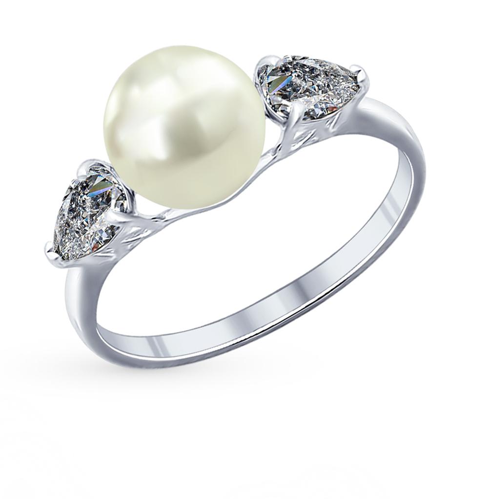 серебряное кольцо с фианитами и жемчугом SOKOLOV 94011763