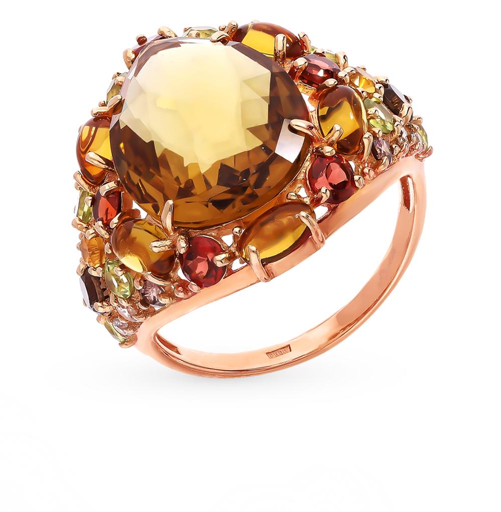 Золотое кольцо с хризолитом, раухтопазами, кварцем, со шпинелью, фианитами, гранатом и цитринами в Екатеринбурге