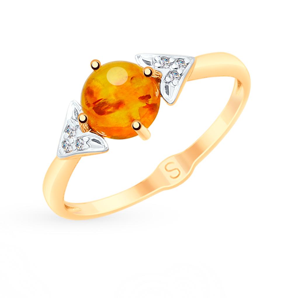 золотое кольцо с фианитами и янтарем SOKOLOV 715176
