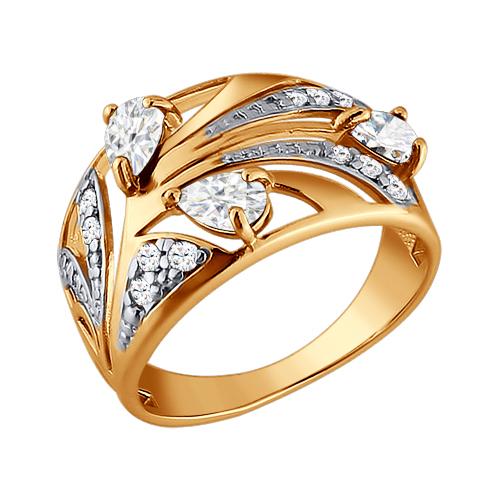 Фото «Золотое кольцо с фианитами SOKOLOV 015418*»