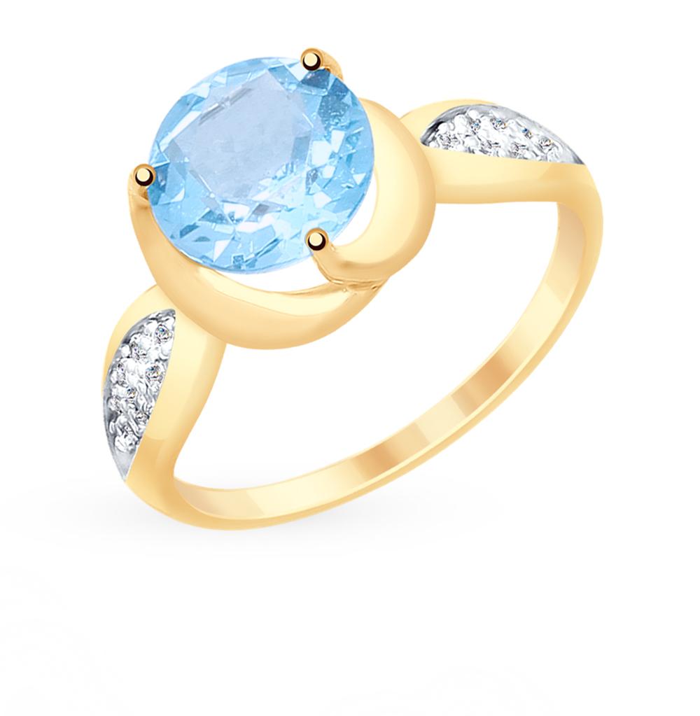золотое кольцо с топазами и фианитами SOKOLOV 715319*