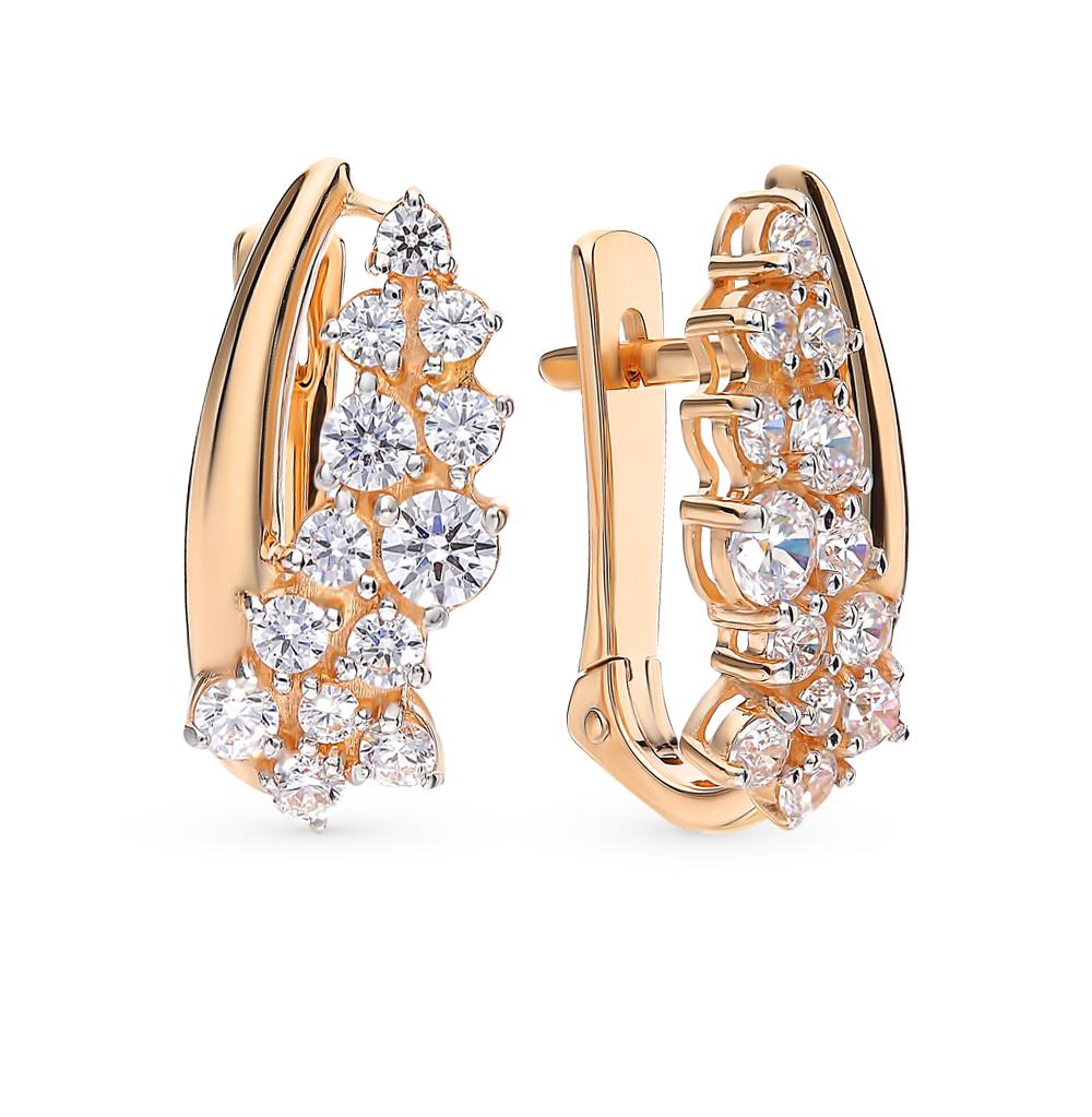 золотые серьги с фианитами
