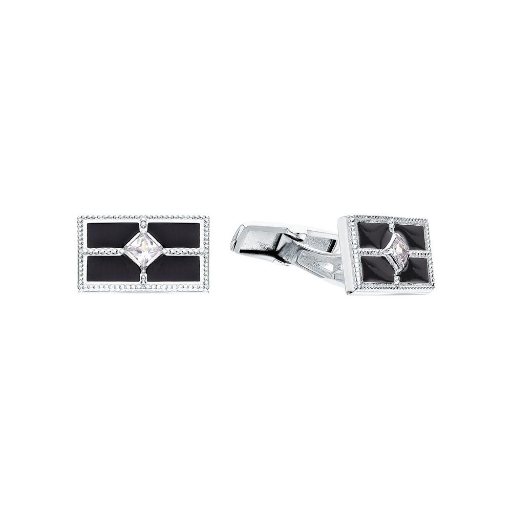 Фото «Серебряные запонки с фианитами и эмалью»