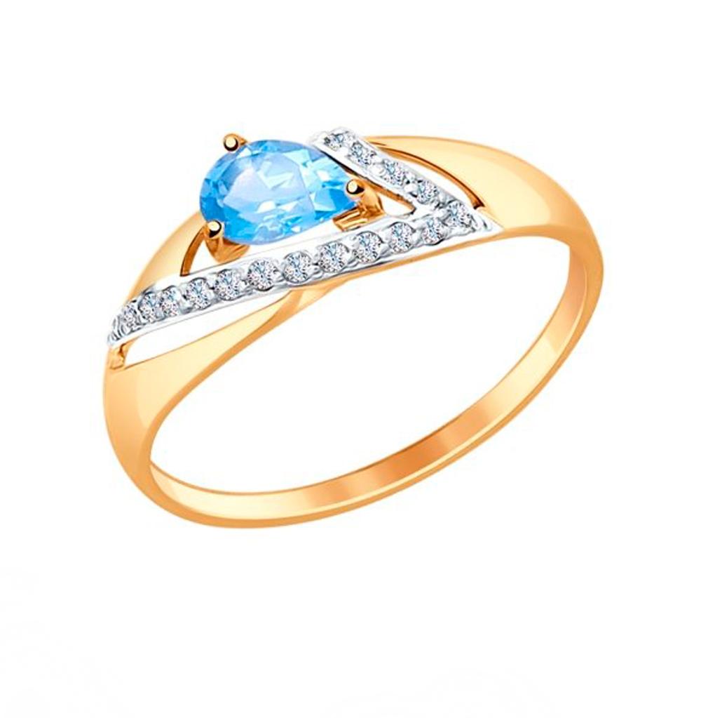 Золотое кольцо с топазом и фианитами SOKOLOV 714674*