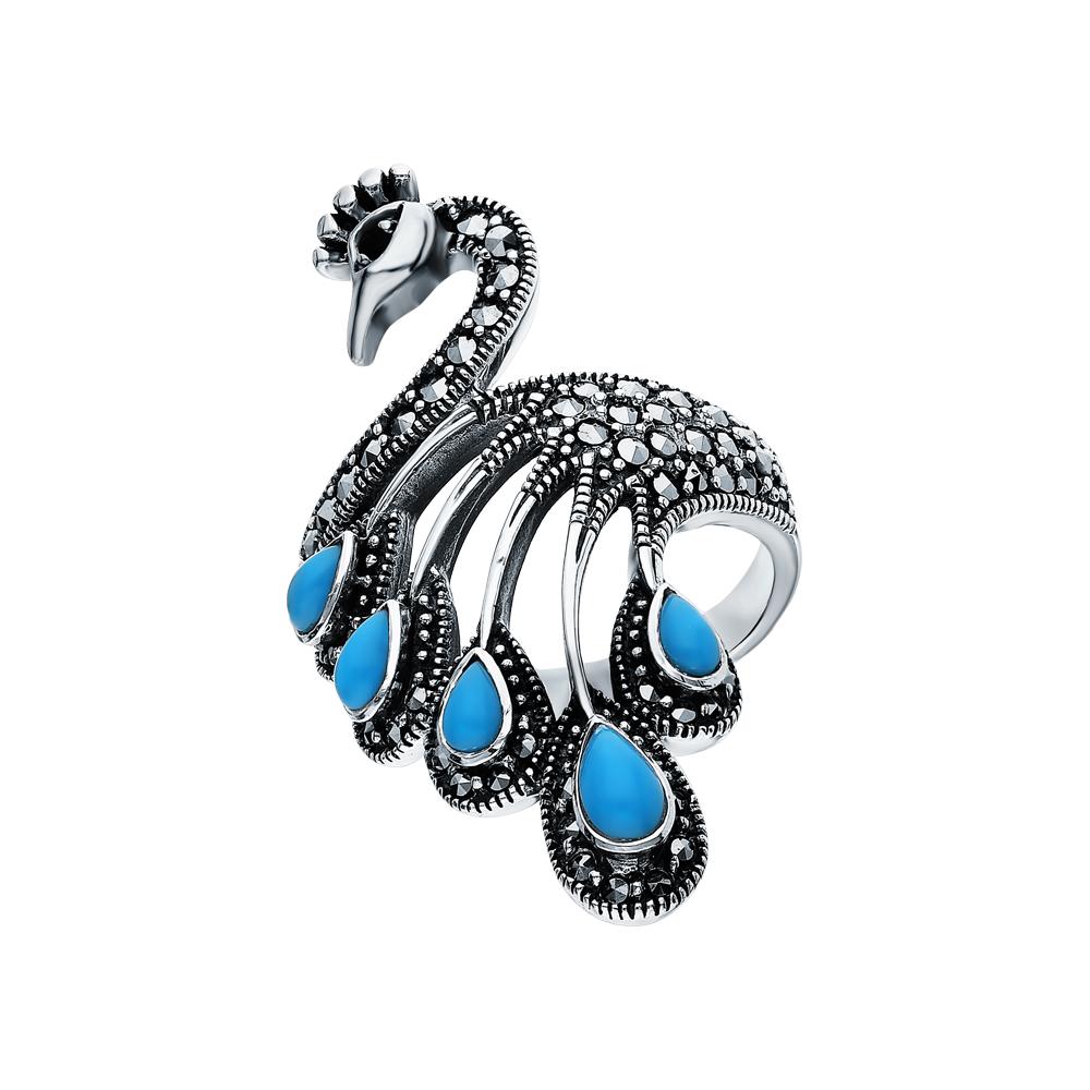 Фото «Серебряное кольцо с марказитами, бирюзой и гранатом»