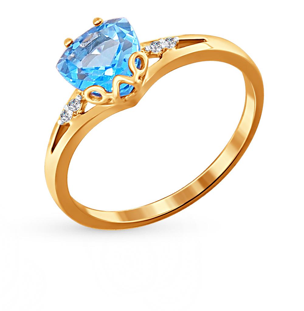 золотое кольцо с топазами и фианитами SOKOLOV 713824*