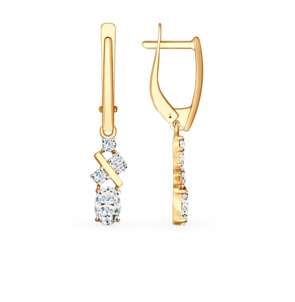 золотые серьги с фианитами SOKOLOV 81020402