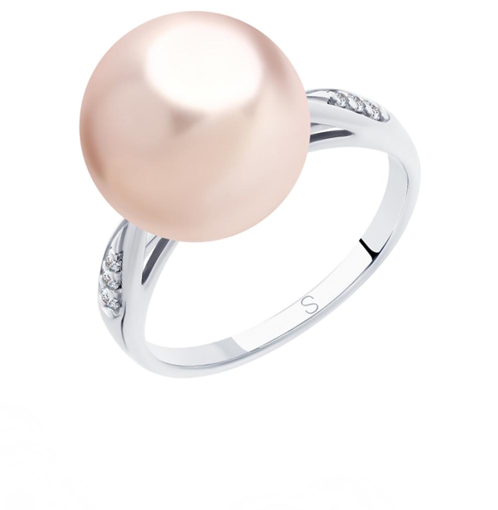 серебряное кольцо с фианитами и жемчугом SOKOLOV 94012916