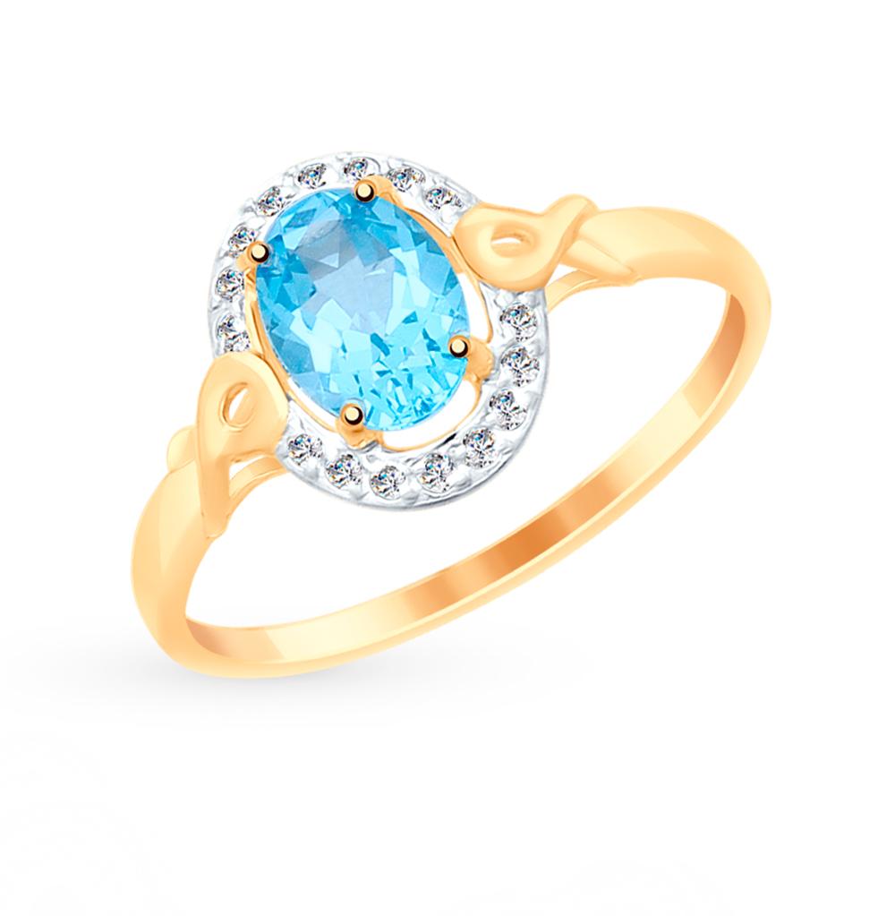 Фото «Золотое кольцо с топазами и фианитами SOKOLOV 715070*»