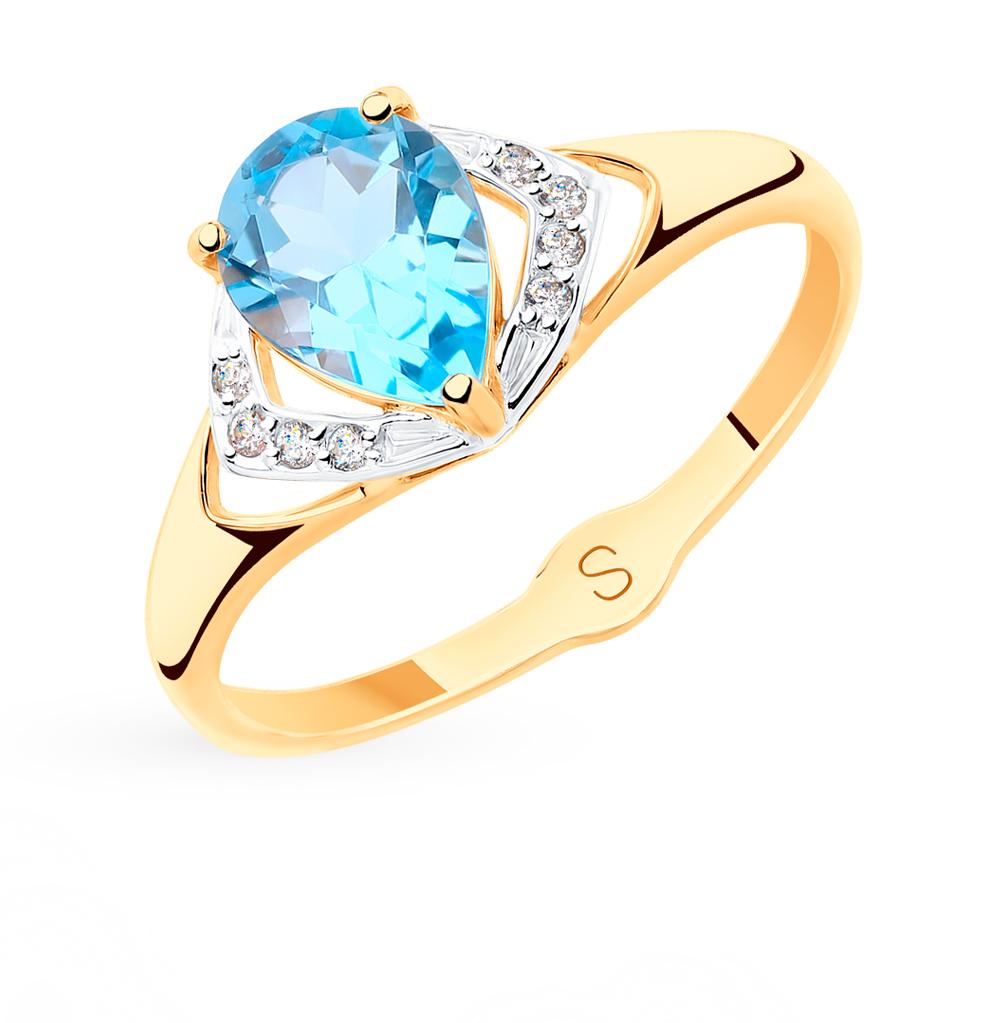 золотое кольцо с топазами и фианитами SOKOLOV 715478*