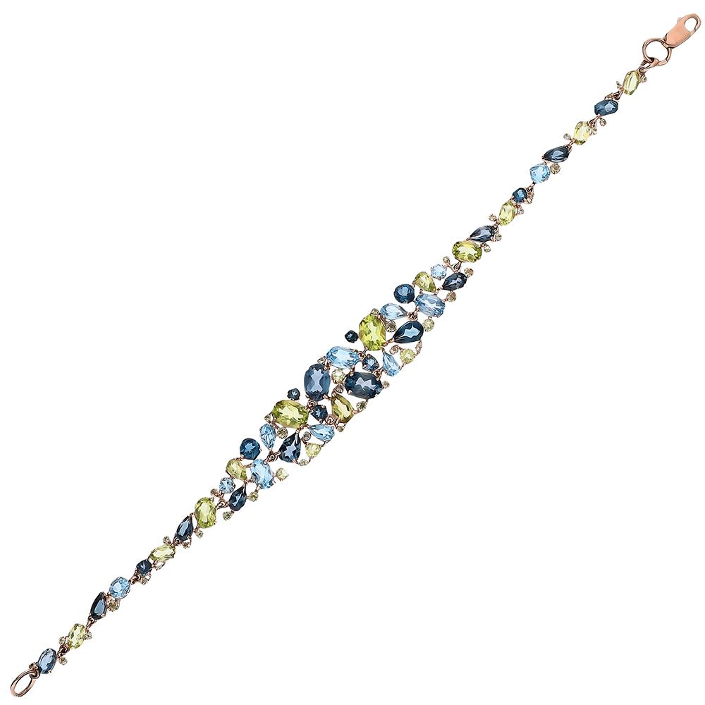 Фото «Золотой браслет с хризолитом и топазами»