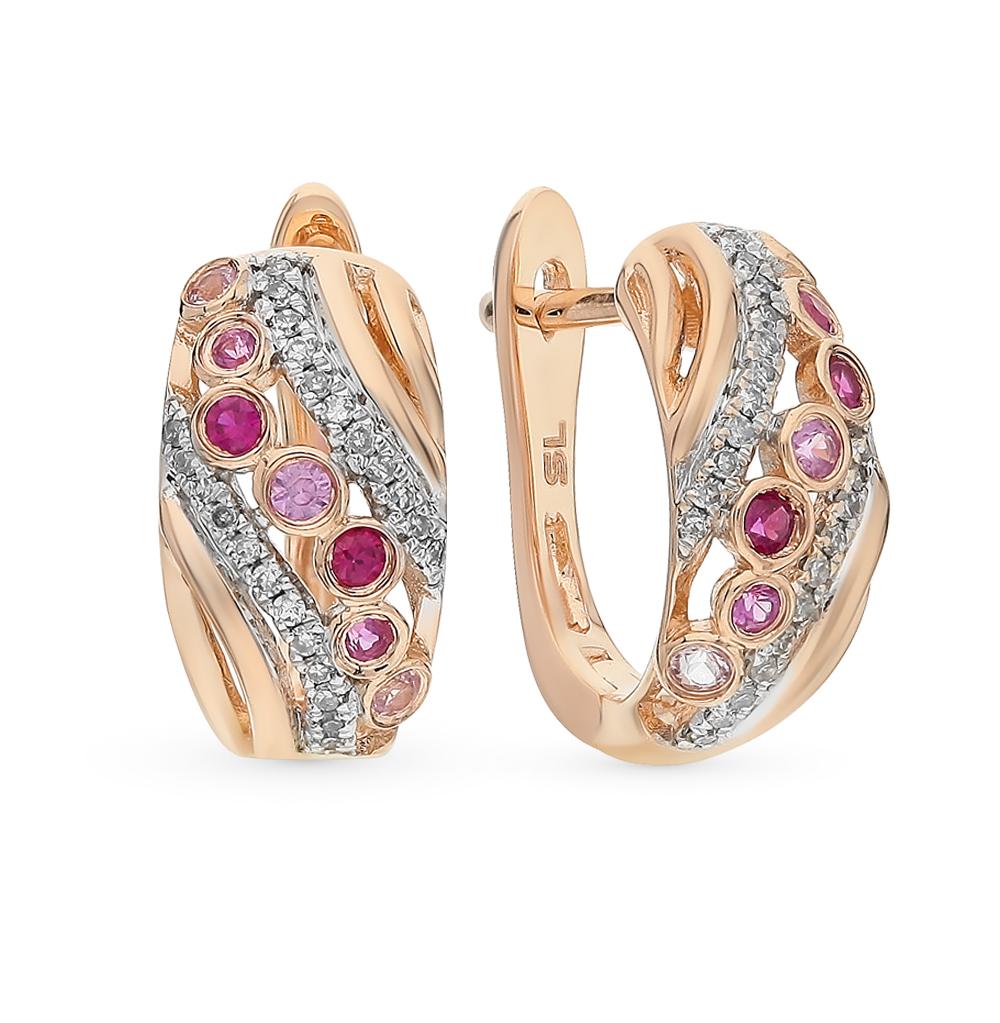 золотые серьги с рубинами, сапфирами и бриллиантами