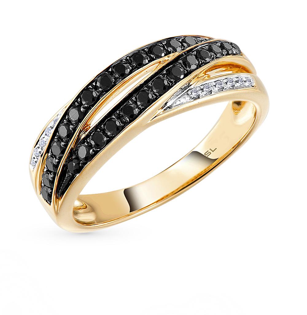 Золотое кольцо с чёрными бриллиантами в Екатеринбурге