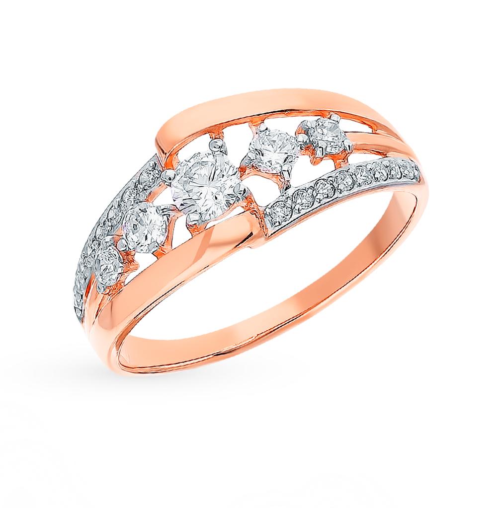 золотое кольцо с фианитами SOKOLOV 017638*