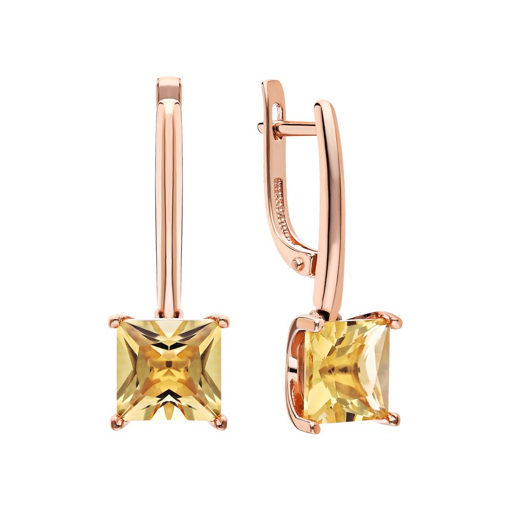 Золотые серьги с цитринами в Екатеринбурге