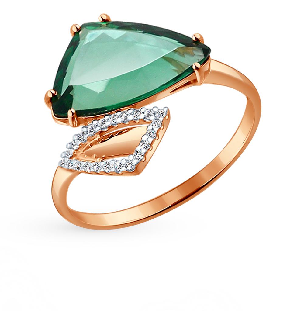 золотое кольцо с кварцем и фианитами SOKOLOV 714114*