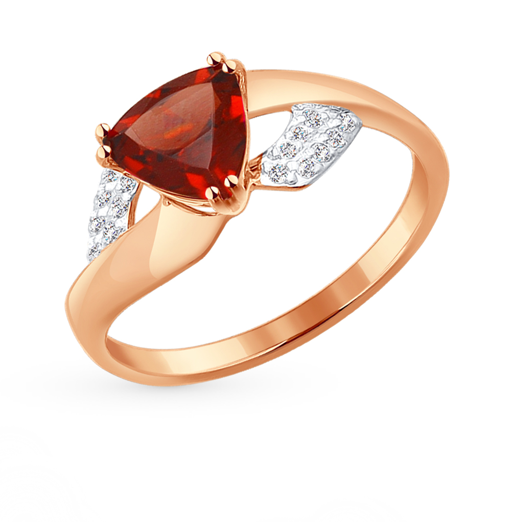 золотое кольцо с фианитами и гранатом SOKOLOV 714236*