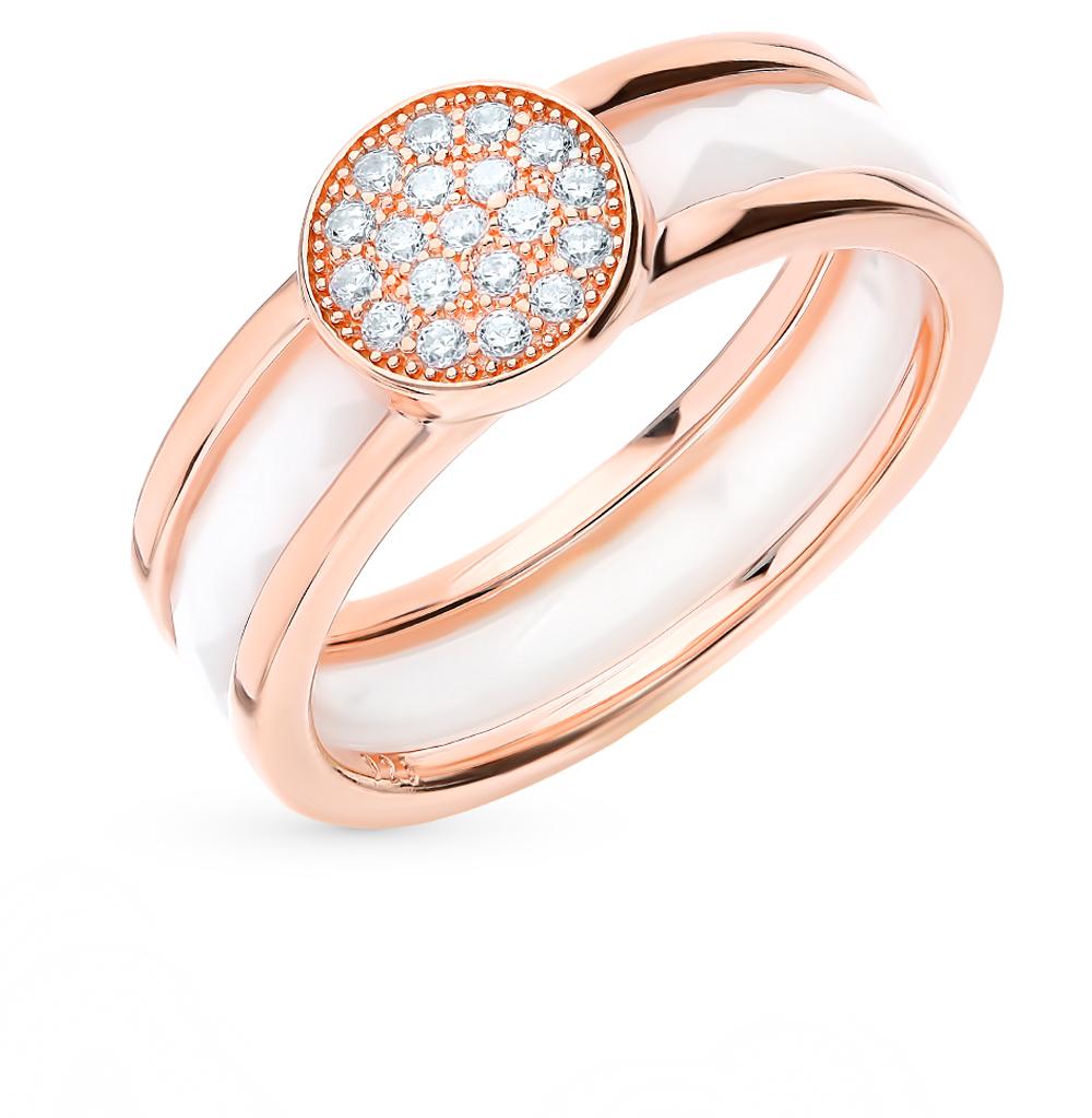 серебряное кольцо с керамикой и фианитами