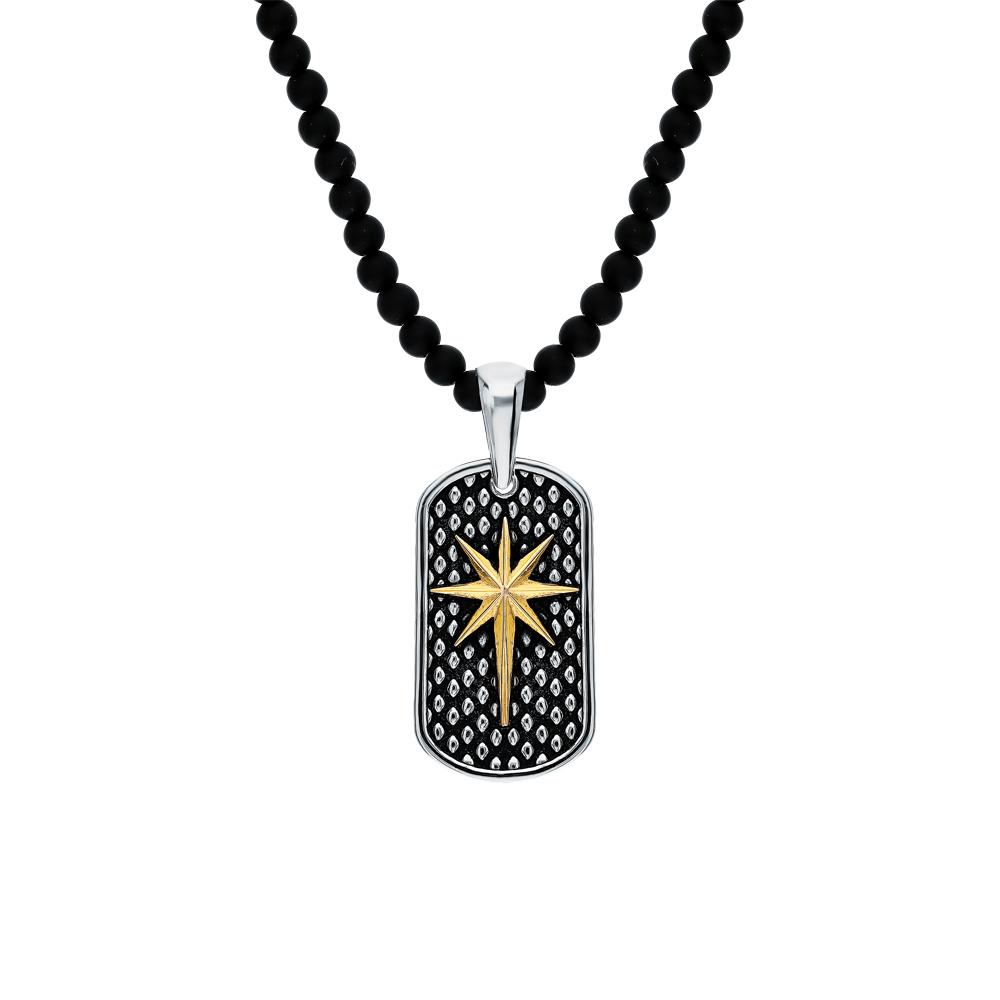 Фото «Серебряное шейное украшение с агатом и эмалью»