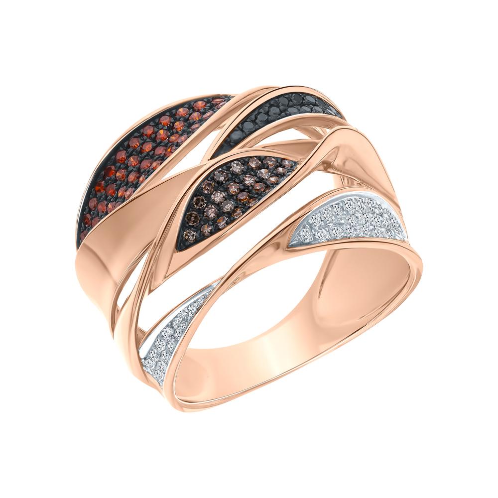 Фото «Золотое кольцо с чёрными и коньячными бриллиантами»