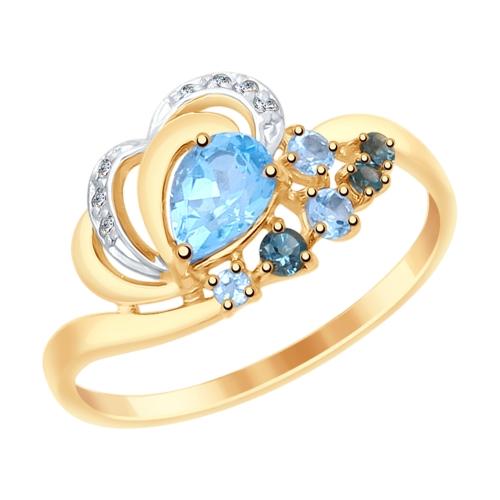 Фото «Золотое кольцо с топазами и фианитами SOKOLOV 715046*»